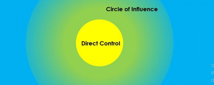 The centre circle shows the things we have direct control over. The next circle shows the things we are able to influence. The largest circle shows the things we have no control over - these things are external to our control.