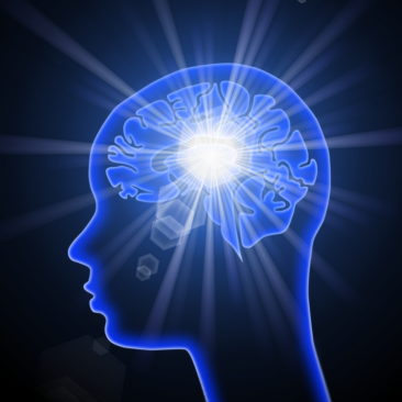 Outline of person's head with glowing brain to represent the thinking process