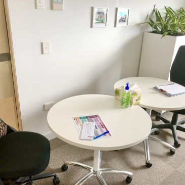 An office space with tables arranged for 1.5 metre social distancing